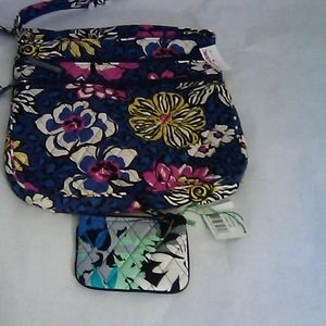 New Vera Bradley Triple Zip Hipster & Coin Purse